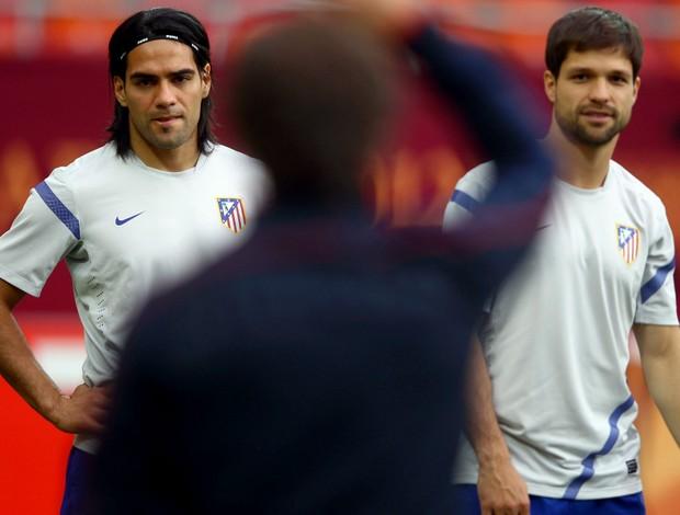 Falcao García e Diego em treino do Atlético de Madri (Foto: Getty Images)