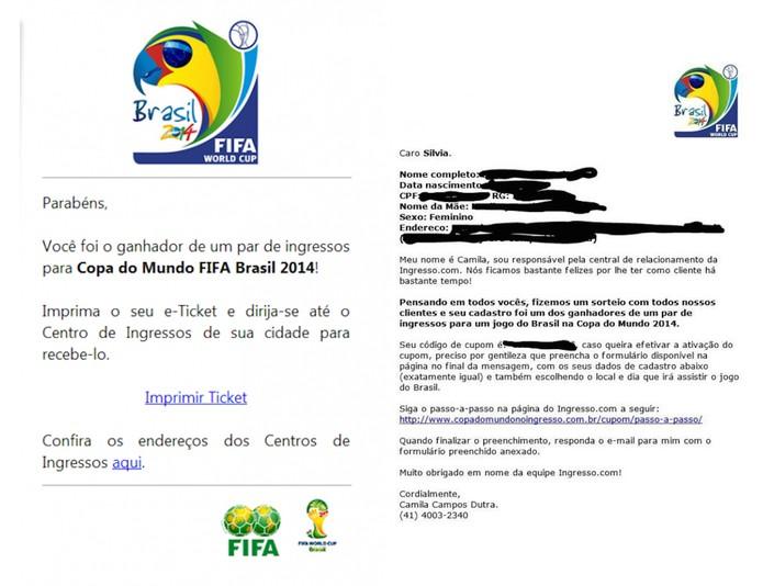 Mensagens de e-mail utilizadas por criminosos para enganar internautas brasileiros com falsos ingressos para Copa do Mundo (Foto: Divulgação/Kaspersky)
