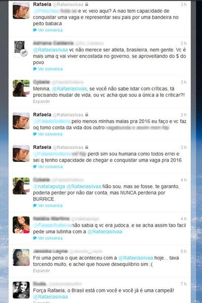 Ofensas a judoca RAfaela Silva no Twitter (Foto: Reprodução / Twitter)
