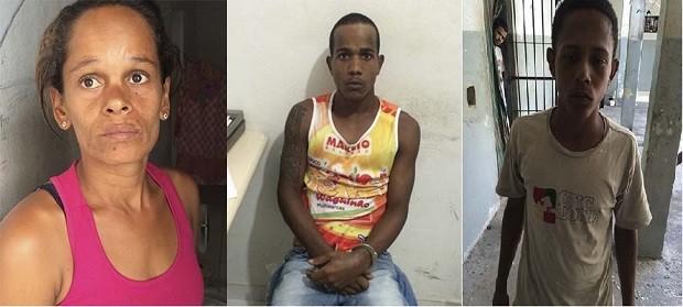 Gláucia Maria, Erick Ferreira Costa e Paulo Henrique Soares da Silva foram presos (Foto: Divulgação/ PM)