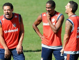 Fred e Thiago Neves treino Fluminense (Foto: Dhavid Normando / Photocamera)