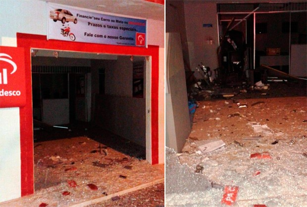 Alvo do ataque foi a agência do Bradesco, que ficou particialmente destruída com a explosão (Foto: Blog Jean Souza)