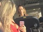 EX-BBB Adriana usa macacão decotadíssimo para malhar