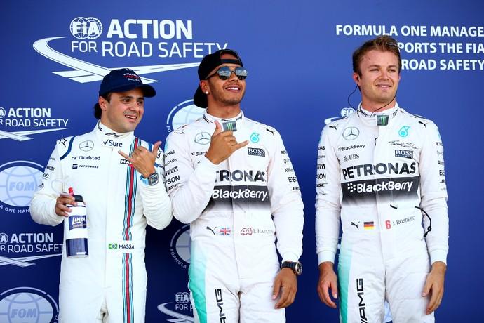 Felipe Massa Lewis Hamilton Nico Rosberg treino classificatório Silverstone GP da Inglaterra (Foto: Getty Images)