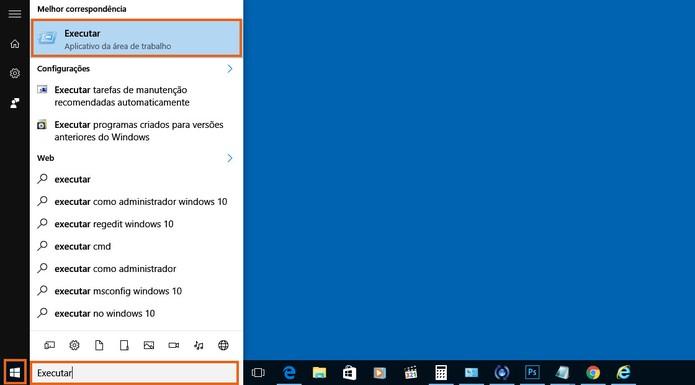Abra o menu iniciar e busque pelo recurso de Executar no PC (Foto: Reprodução/Barbara Mannara)