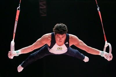 Arthur Nory no treino de pódio do Mundial de Glasgow (Foto: Ricardo Bufolin/CBG)