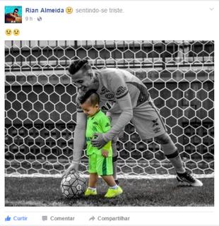 Rian Almeida, presta homenagem a Chapecoense (Foto: Reprodução/Facebook)