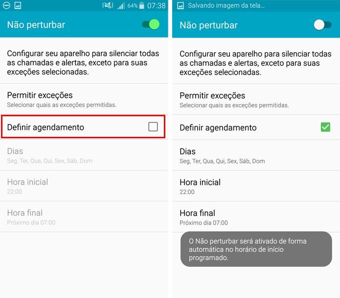 Você pode programar o celular para ativar o modo Não Perturbe automaticamente (Foto: Reprodução/Aline Batista)
