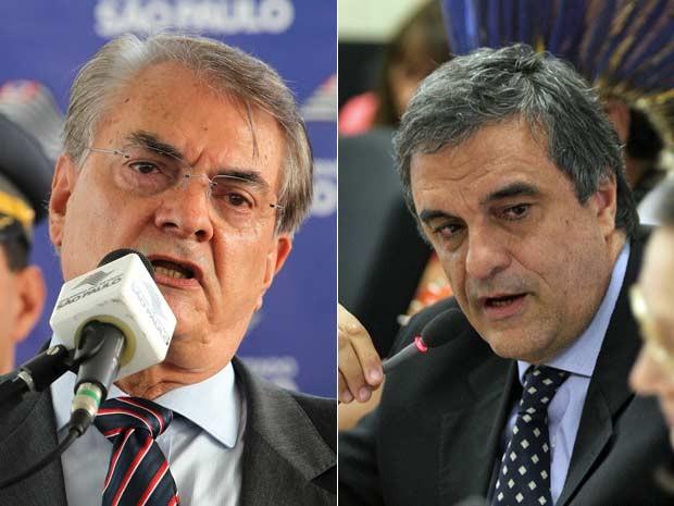 Secretário da Segurança Pública, Antônio Ferreira Pinto, e o ministro José Eduardo Cardozo (Foto: Helvio Romero e Ed Ferreira/Estadão Conteúdo)