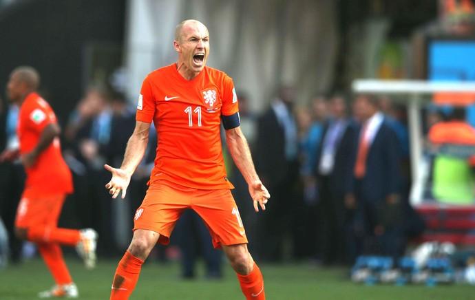 Robben comemora gol da Holanda contra o Chile (Foto: Marcos Ribolli)