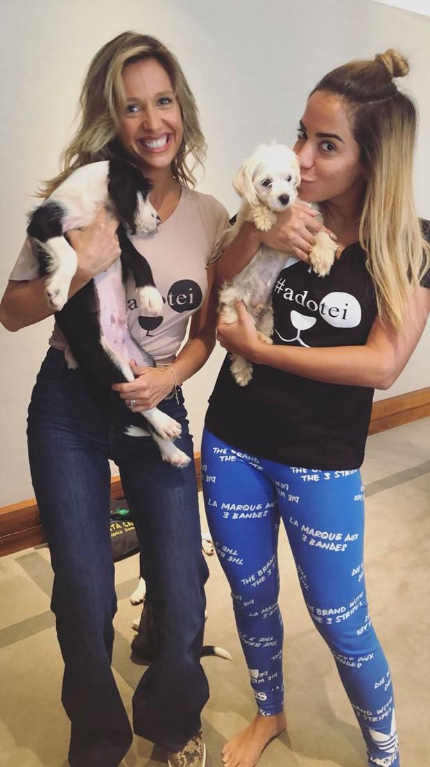 Luisa Mell e Anitta, com Tobias e Serafim no colo (Foto: Divulgação)