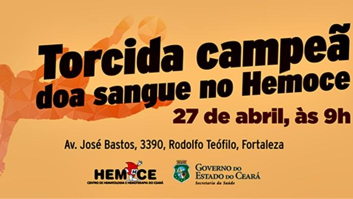 Banner; campanha; hemoce; times; doação de sangue; Ceará; Ferroviário (Foto: Divulgação)