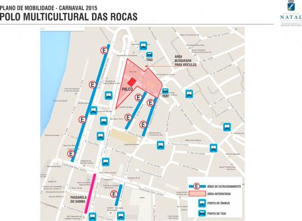 Veja áreas de bloqueio no trânsito do bairro das Rocas durante o carnaval (Foto: Divulgação/STTU)