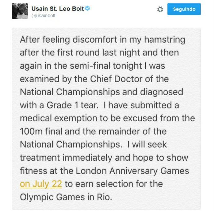 Usai Bolt post Twitter lesão na seletiva (Foto: Reprodução Twitter)