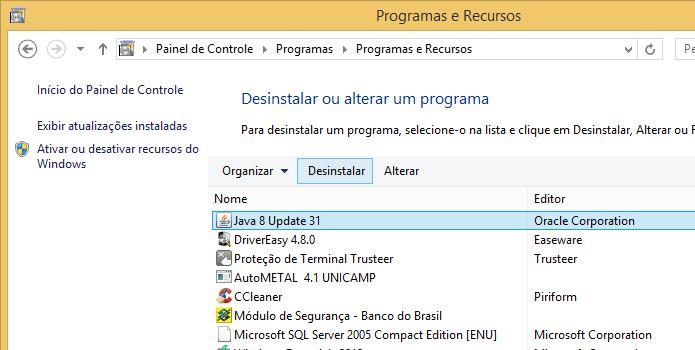 Removendo o plugin do Java 8 (Foto: Reprodução/Helito Bijora)