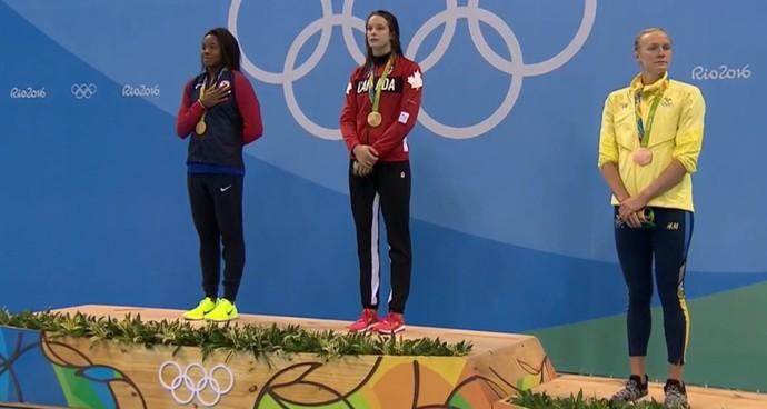 Pódio 100m livre feminino (Foto: Reprodução/SporTV)