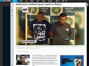 USA Today repercute o caso da estudante americana estuprada no Rio (Foto: Reprodução/USA Today)