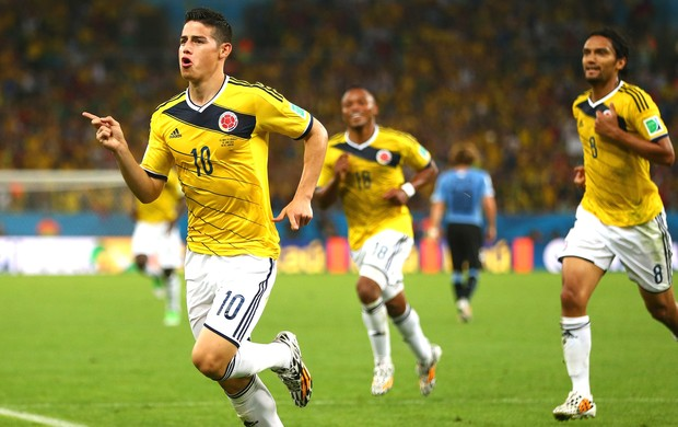 James Rodriguez Colômbia e Uruguai (Foto: Getty Images)