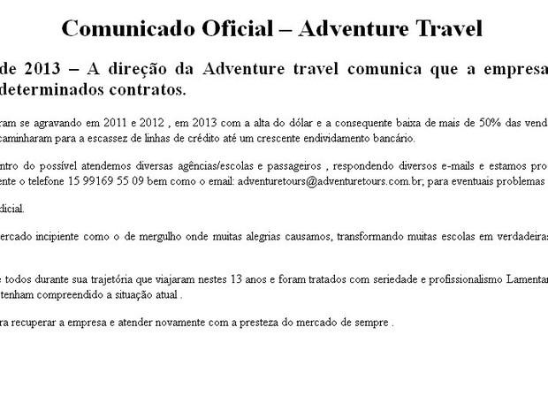Empresa deixou comunicado oficial em site relatando problemas financeiros (Foto: Reprodução/internet)