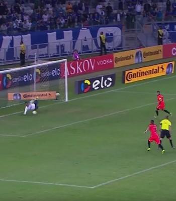 Pênalti cobrado por Diego Renan; Vitória x Cruzeiro (Foto: Reprodução)