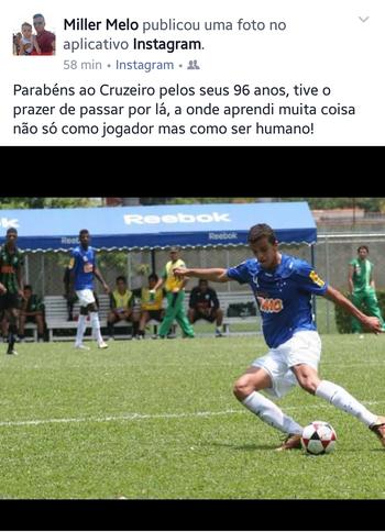 Miller Melo, zagueiro do Atlético-AC, mensagem Cruzeiro (Foto: Reprodução/Facebook)