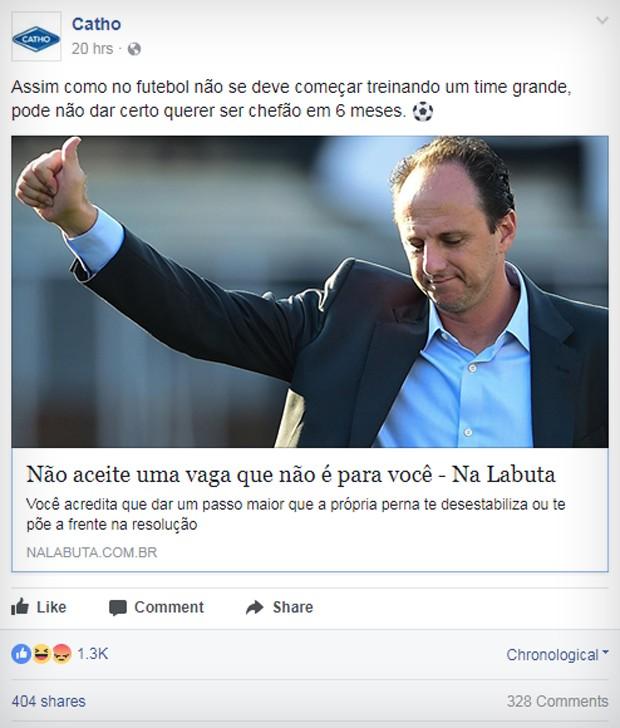 Postagem sobre Rogério Ceni no Facebook da Catho (Foto: Reprodução/Facebook)