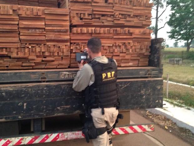 Foram apreendidos cerca de 671 m³ de madeira em 5 municípios (Foto: Divulgação/PRF-MT)