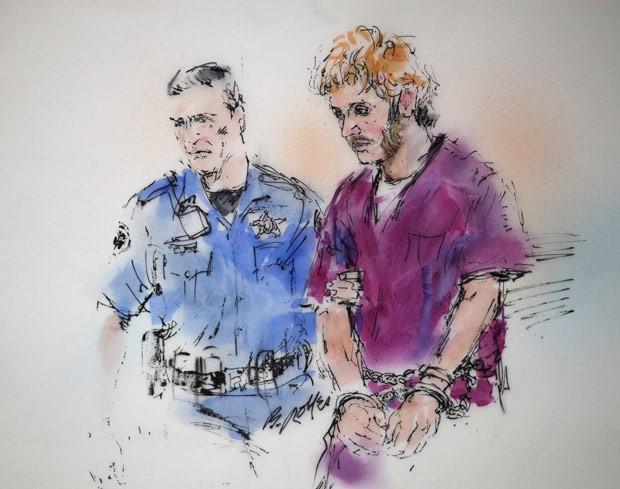Desenho mostra James Holmes durante audiência realizada nesta quinta (9) em tribunal do Colorado, nos EUA (Foto: Bill Robles / AP)