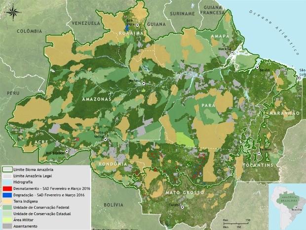 Mapa do desmatamento na Amazônia Legal (Foto: Reprodução/Imazon)