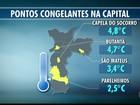 Temperatura em SP atinge 2,6°C na madrugada desta sexta, diz CGE