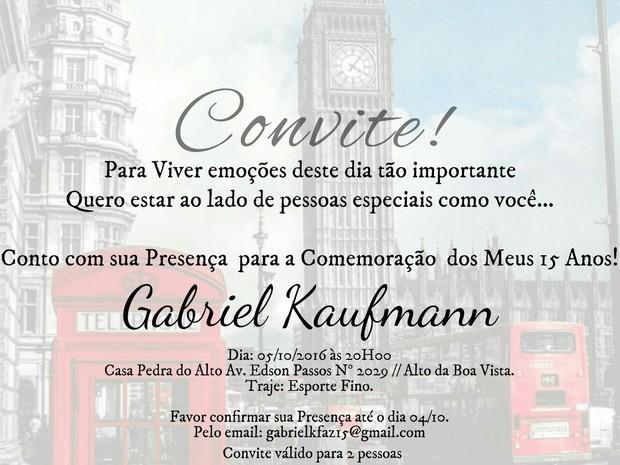 Convite do aniversário de Gabriel Kaufmann, de Malhação (Foto: Divulgação/Ciproduçoes)