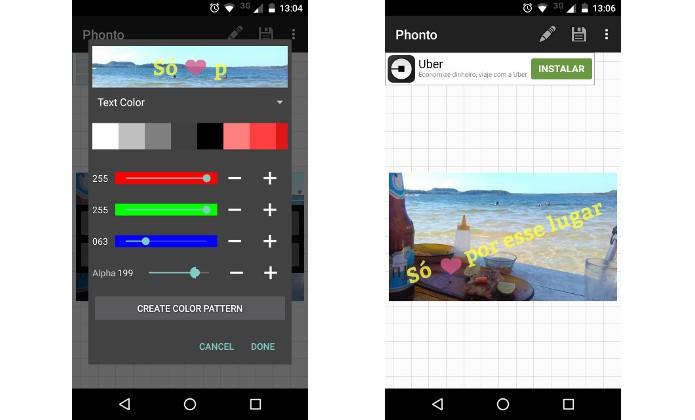 Phonto, app de escrever em fotos, tem versões para Android e iOS (Foto: Reprodução/Raquel Freire)