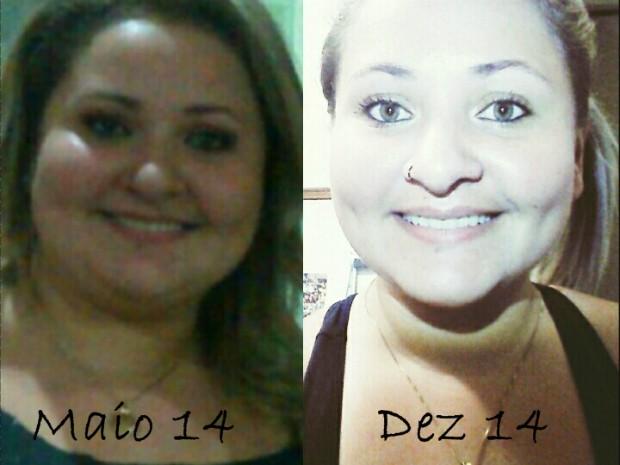 Ela chegou a pesar 119kg; agora está com 94kg (Foto: Arquivo Pessoal/ Mariana Rosa)