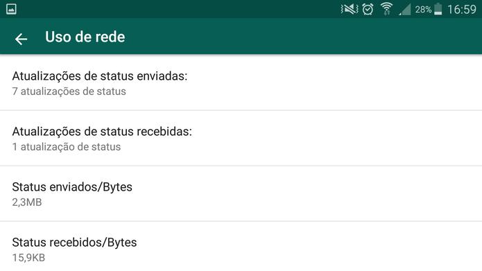 WhatsApp mostra o gasto de rede com o Status (Foto: Reprodução/Barbara Mannnara)