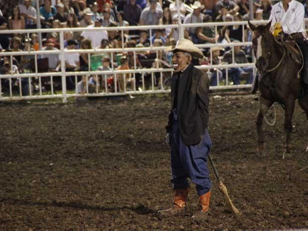 Palhaço 'Obama' é convidado para rodeio no Texas, EUA (Foto: Jameson Hsieh/ AP)