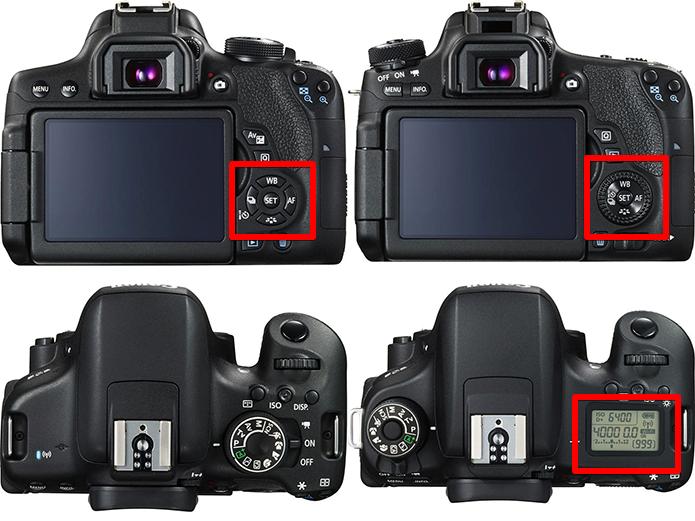 À esquerda, a T6i e, à direita, a T6s. Note que a T6s tem visor LCD no topo e dial seletor que permite ajuste fino e ágil da exposição na hora de fotografar (Foto: Divulgação/Canon)