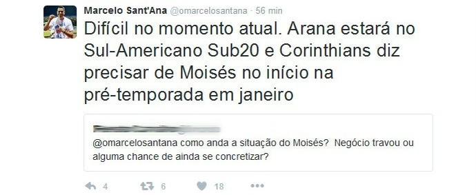 Sant'Ana explica situação do lateral Moisés (Foto: Reprodução / Twitter)