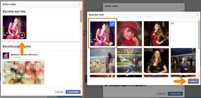 Edite a foto inicial do vídeo de retrospectiva (Foto: Reprodução/Barbara Mannara)