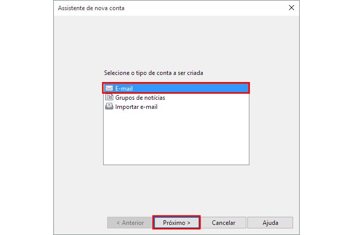 Comece a configurar uma nova conta (Foto: Reprodução/Paulo Alves)