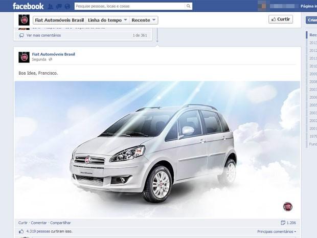 Fiat faz post no Facebook em referência ao uso do Idea pelo Papa Francisco (Foto: Reprodução/Facebook)