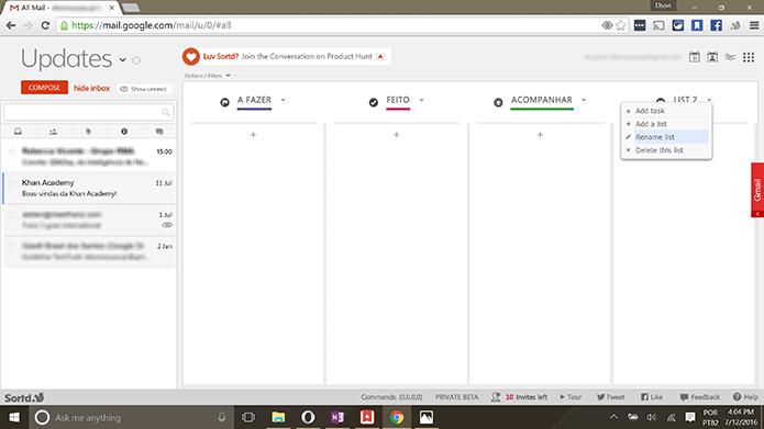 Sortd pode ter listas criadas para organizar e-mails do Gmail (Foto: Reprodução/Elson de Souza)
