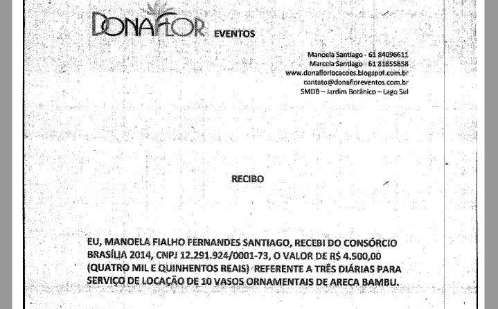 Nota fiscal entregue por Andrade Gutierrez mostra aluguel de vasos ornamentais para jogo no Mané Garrincha (Foto: Reprodução)