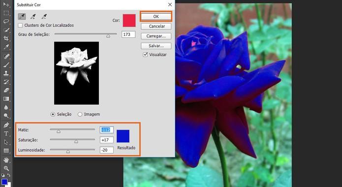 Faça a substituição de cor ajustando de forma personalizada até um bom resultado (Foto: Reprodução/Barbara Mannara)