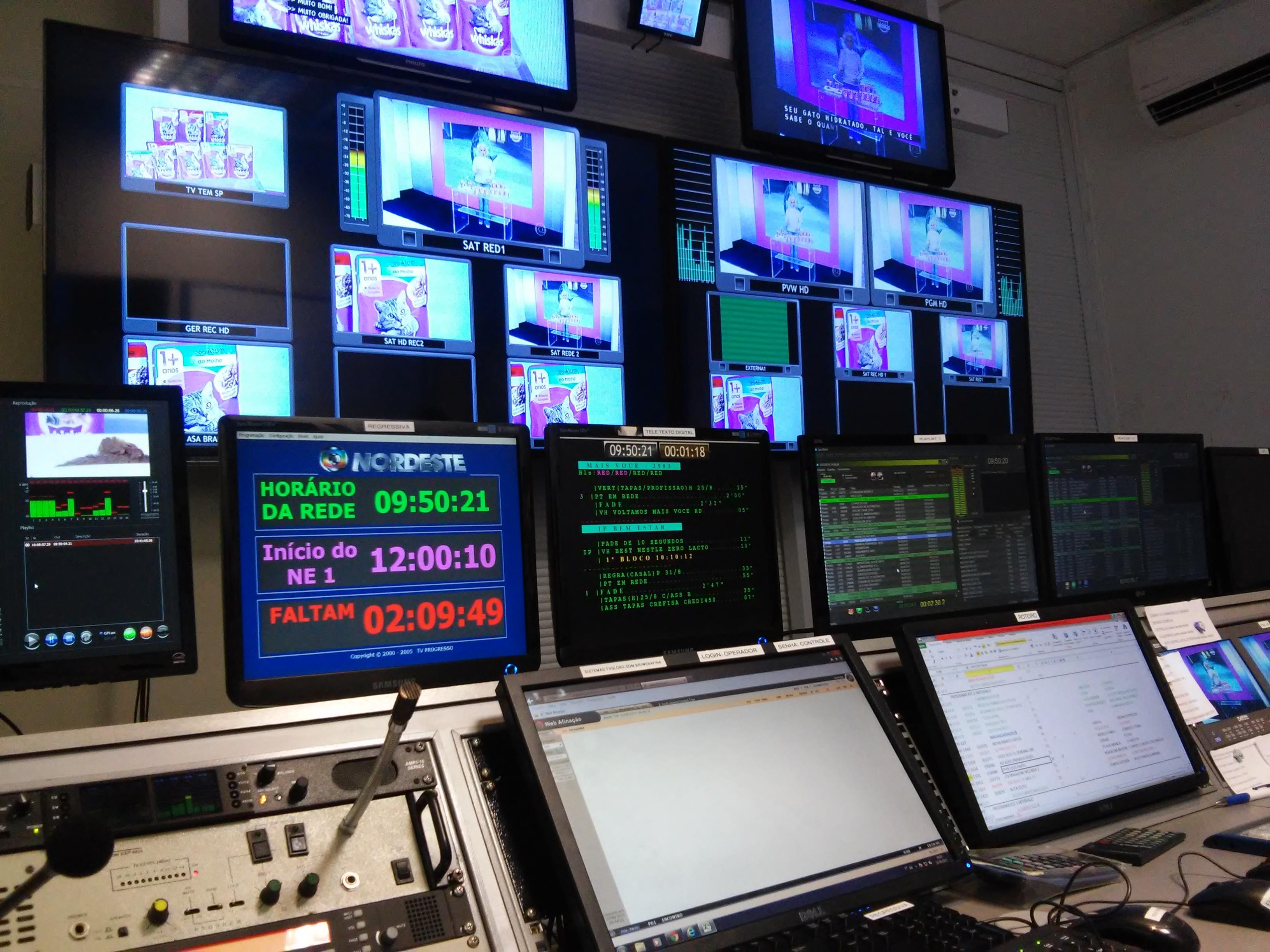 Sala do Controle Mestre da TV Asa Branca (Foto: André Hilton / TV Asa Branca)