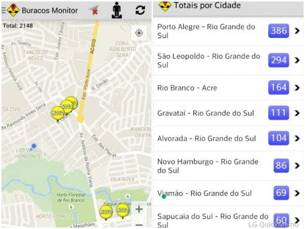 Aplicativo já contabiliza mais de 160 cadastros de buracos em Rio Branco (Foto: Reprodução)