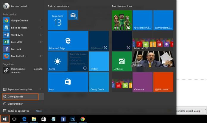 Acesse as configurações no computador (Foto: Reprodução/Barbara Mannara)