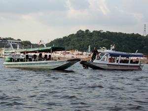 Simulação reconstituiu colisão entre duas lanchas que vitimou turista da Inglaterra, no início de Setembro. (Foto: Jamile Alves/G1 AM)