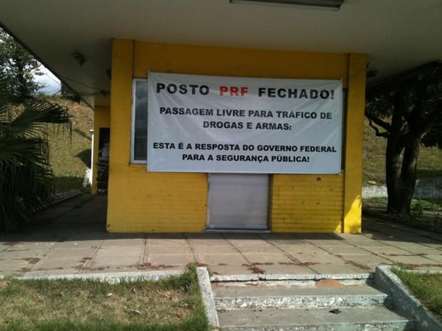 Agentes da Polícia Rodoviária Federal fazem na manhã desta terça-feira (21) um protesto para chamar atenção do governo (Foto: Divulgação/PRF)