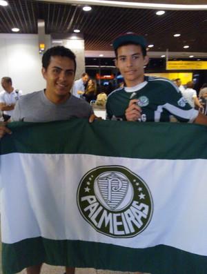 Eduardo Bruno e Ruan Torres, torcedores do Palmeiras (Foto: Juscelino Filho)