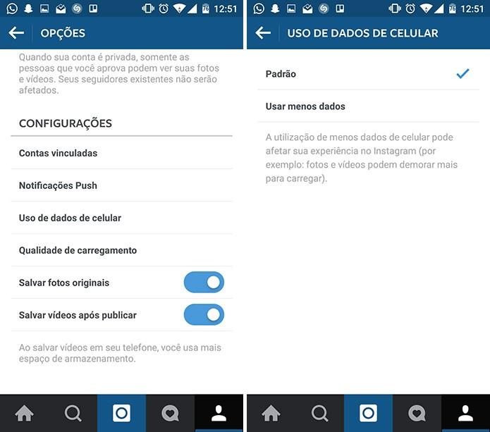 Instagram oferece opção de gastar menos dados e economizar o pacote 3G (Foto: Reprodução/Elson de Souza)